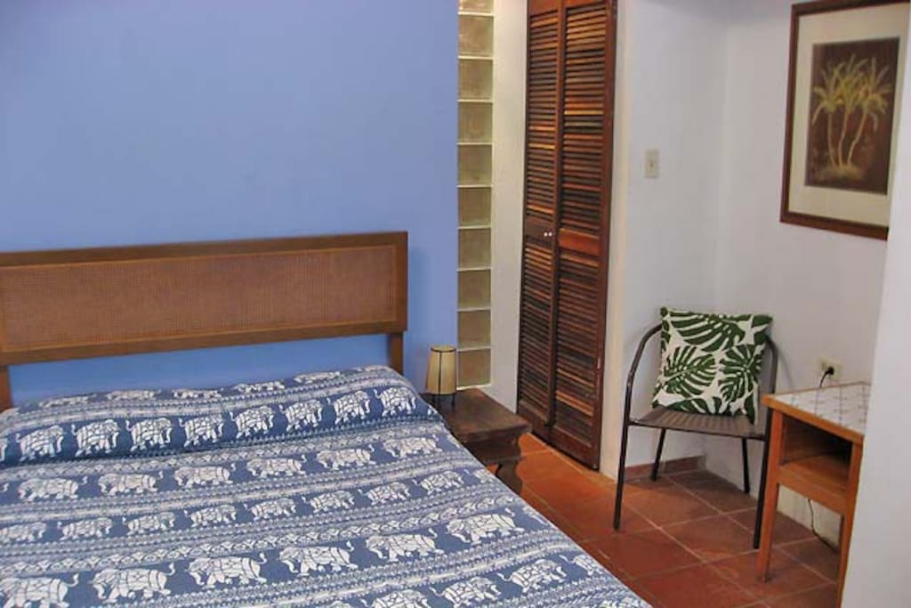 Showing here is the comfortable Full-size bed (6 inches narrower than a Queen-bed).