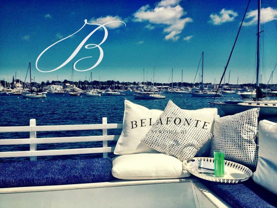 View of Newport Harbor mid-summer, alfresco dinning seats 10 on the upper deck June 2012
