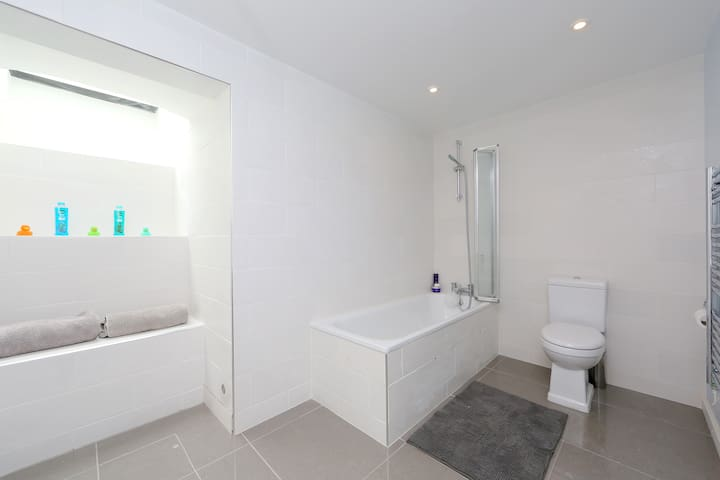 Bathroom with shower fittings