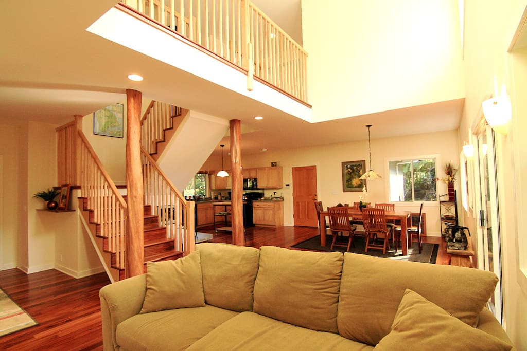 Beautiful living area and staircase