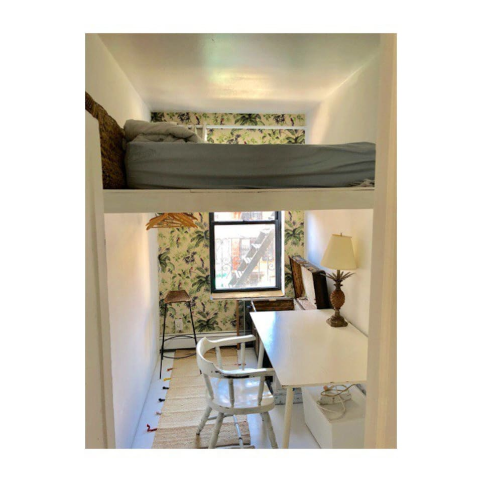 Diago room . This is  room  that can be available . Loft bed . Desk . Small cozy , window .