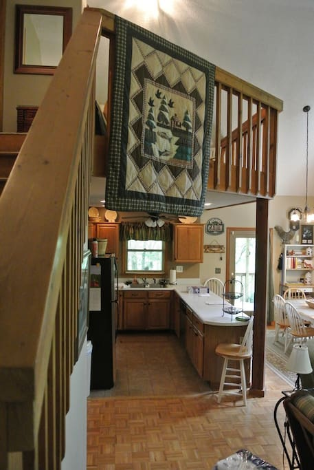 Kitchen with loft overhang