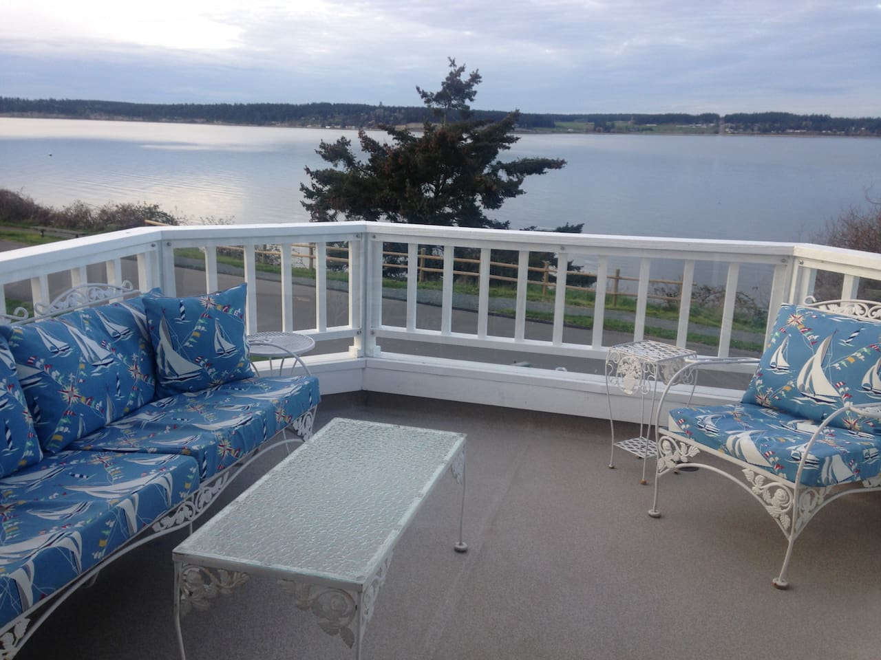 Fabulous view from deck-- enjoy coffee or wine and see Mt. Baker and Penn Cove!