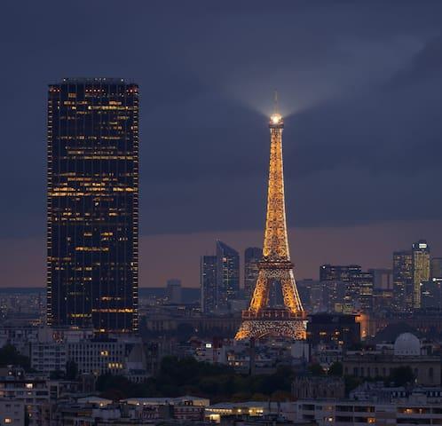 Paris et Tour Eiffel vus d'en haut.