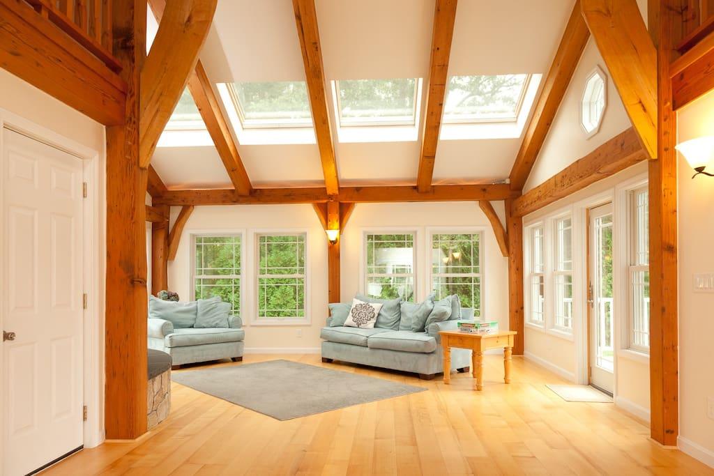 Timber-framed great/family room