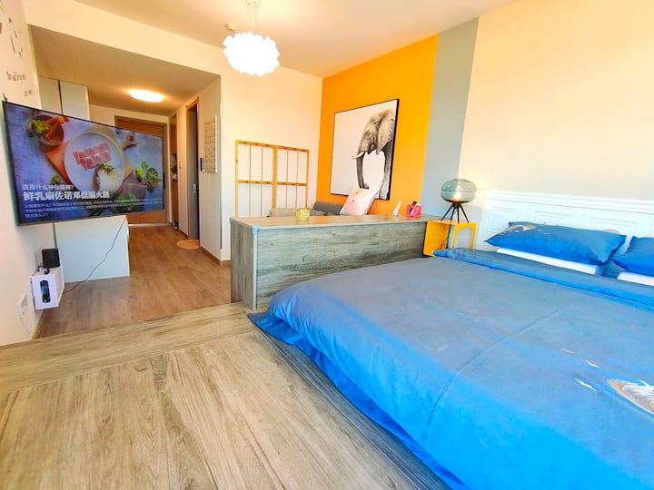有供暖 万科拉维海岸  智能轻奢地台大床房 纯海景 金沙滩 魔法温泉公园 可做饭