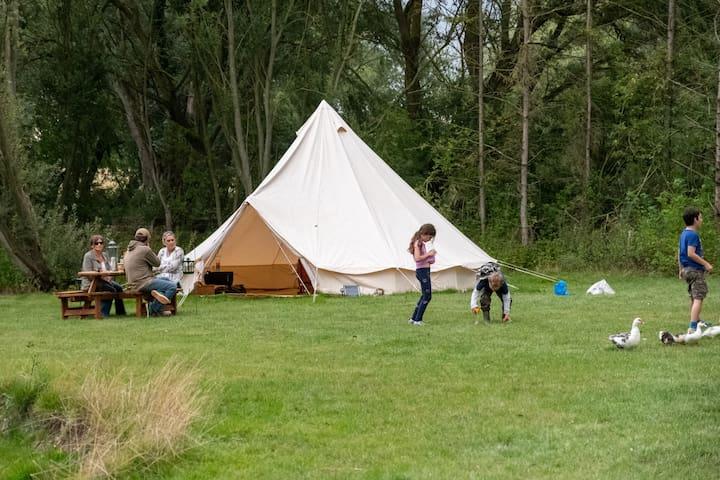 Sleeps-5 waterside bell tent in rural Suffolk