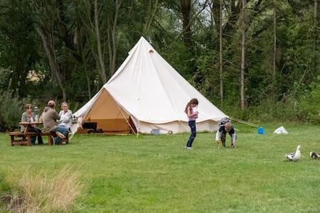 Sleeps-6 waterside bell tent in rural Suffolk