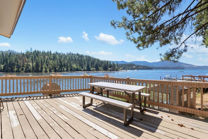 Inviting, waterfront home w/ deck with lake & mountain views, & dock!