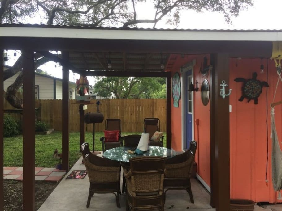 Very roomy porch with outside dining