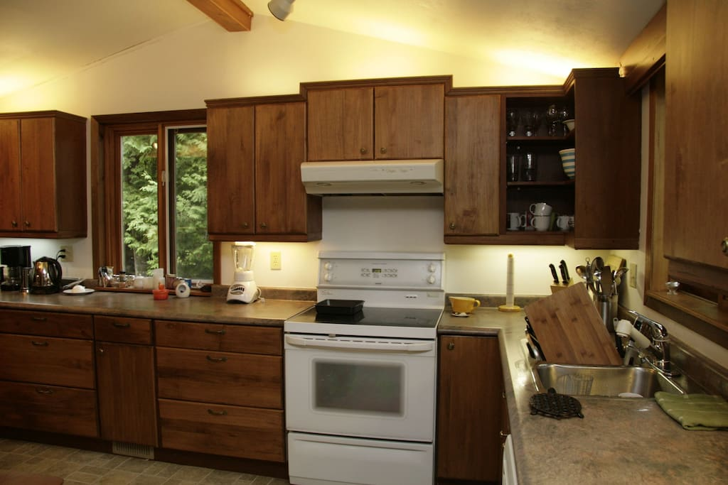 Very large kitchen with easy clean stove top and dishwasher