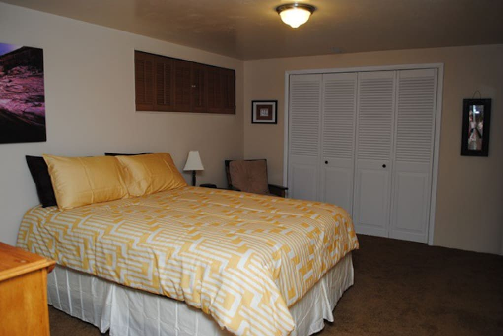 The bedroom includes a closet and dresser for your use...
