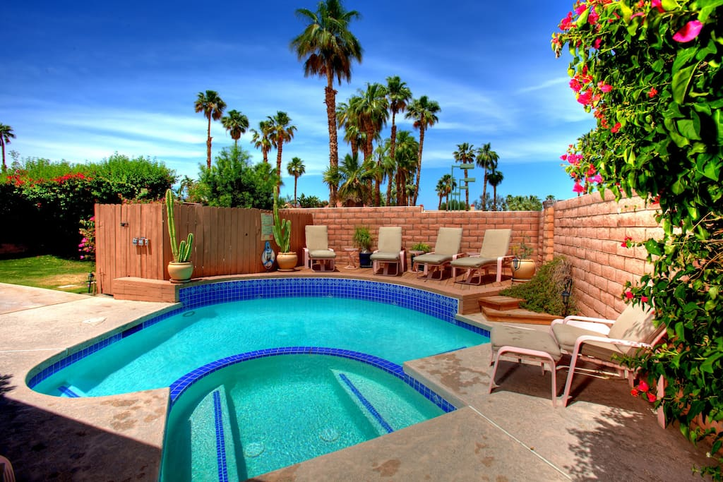 Utterly private & spacious, walled patio, sunning deck, heated pool & spa, and garden is yours for languishing in utter privacy. Beyond the wall, you'll find a larger pool and tennis court for your enjoyment.