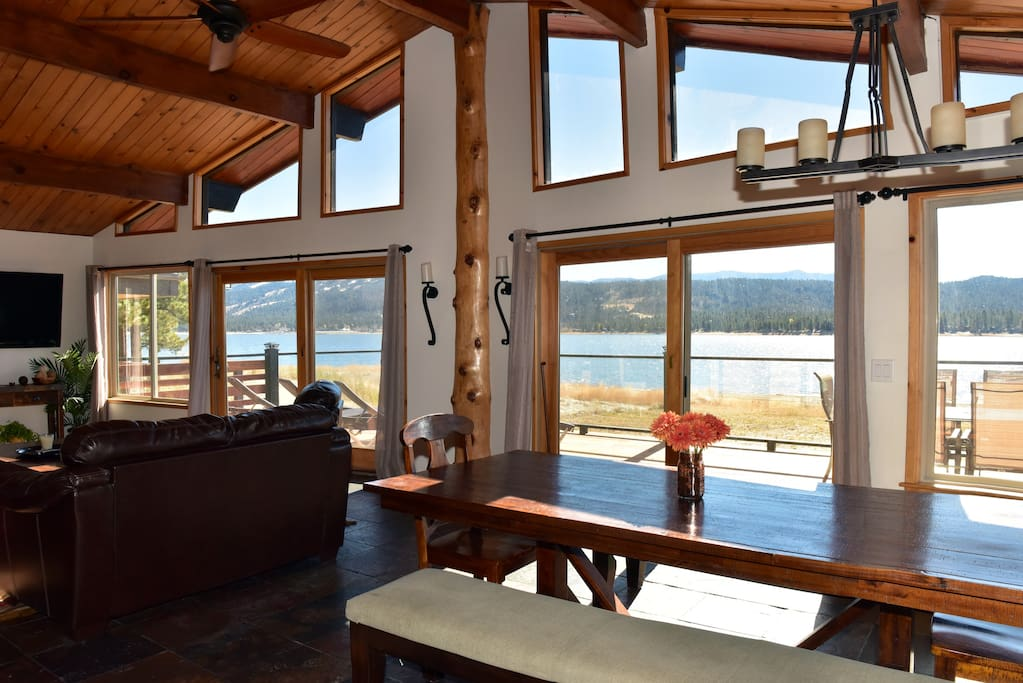 What a view!!!!  Main house has double patio doors and tons of windows so you can watch the lake, the snow or the weather.  You will LOVE this view!