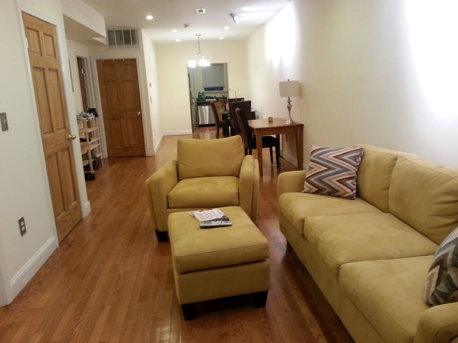 View of modern open space (living room, dinning room and kitchen