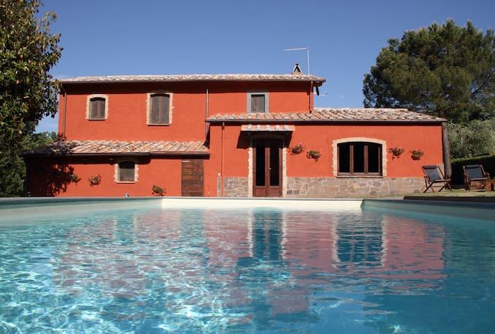 villa con piscina di fronte Civita di Bagnoregio