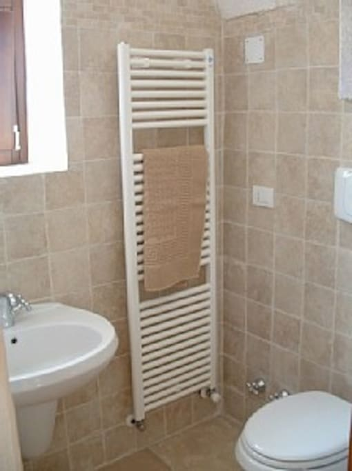 A small bathroom with shower, toilet and washbasin.