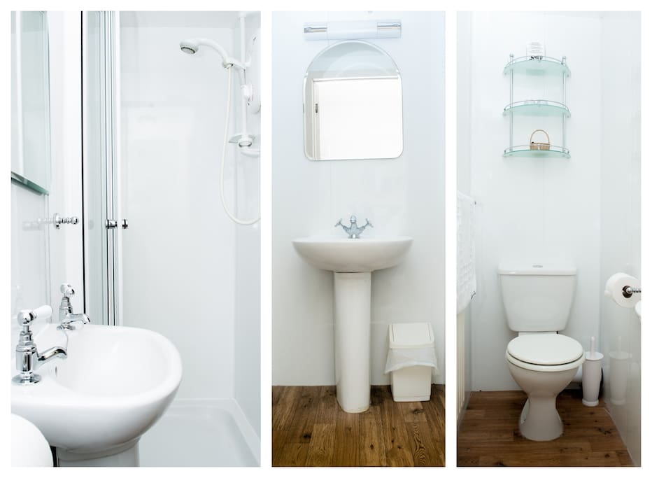 An Airbnb photographer took photographs of the small shower en-suite in The Blue Room. As with all our rooms, we provide essential toiletries, tea/coffee making facilities, a hairdyer and thick hand towels and bath sheets.