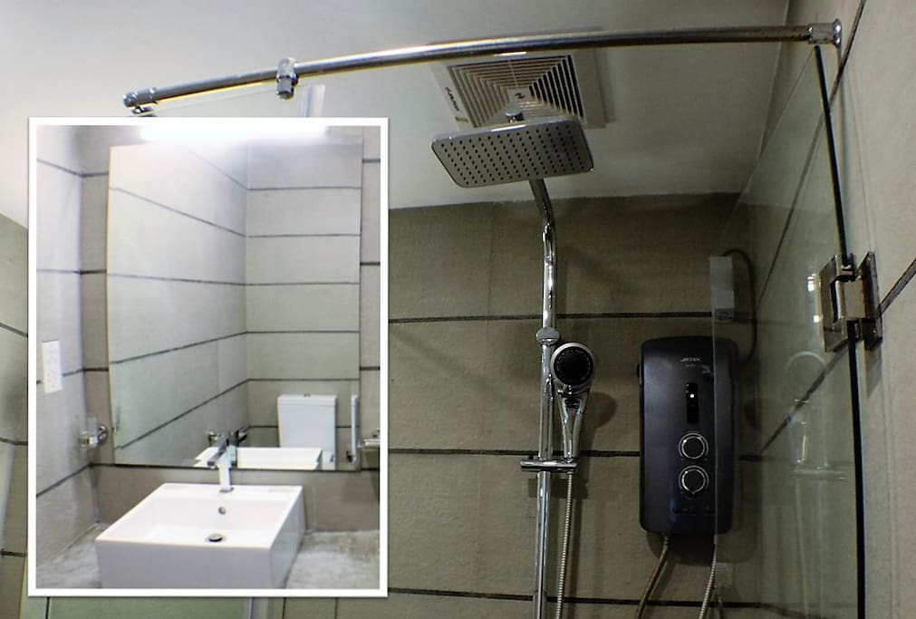 Bathroom - rain shower and hot water pump