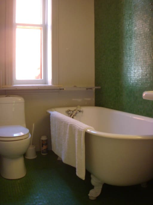 Bathroom with clawfoot bathtub.