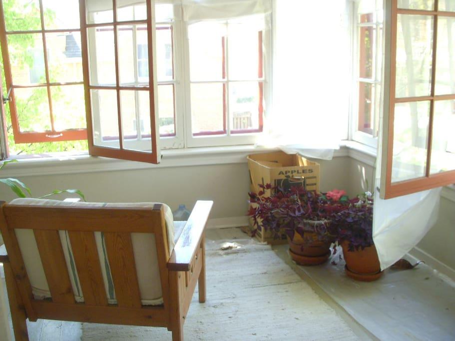 Southwest-facing sun room.