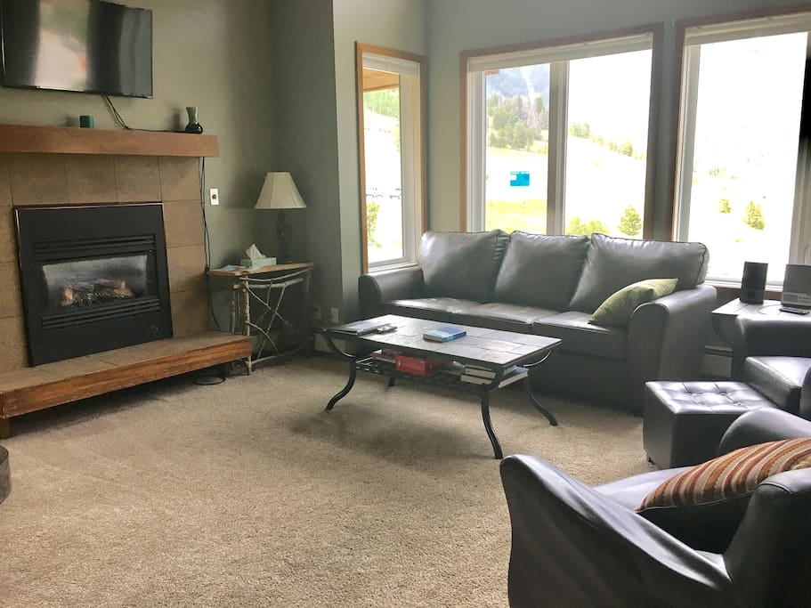 Spacious living room, with gas fire place and cable television