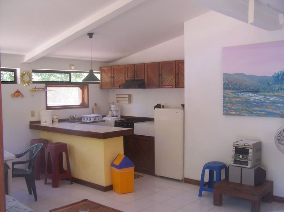 Compete kitchen area of large living space.