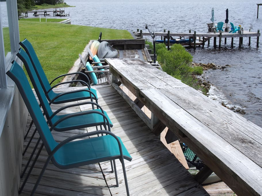 Waterfront cottage deck, and deck to left of main entrance with access to water, and additional comfy seating