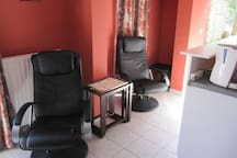Living room, sitting place, kitchen very well equipped
