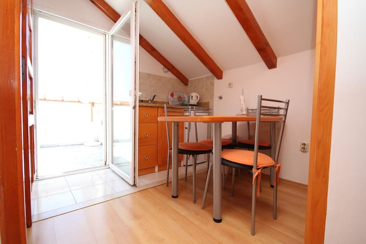 small kitchen, and table..