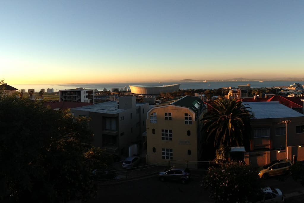 The views late afternoon across Table Bay and up the west coast of Africa