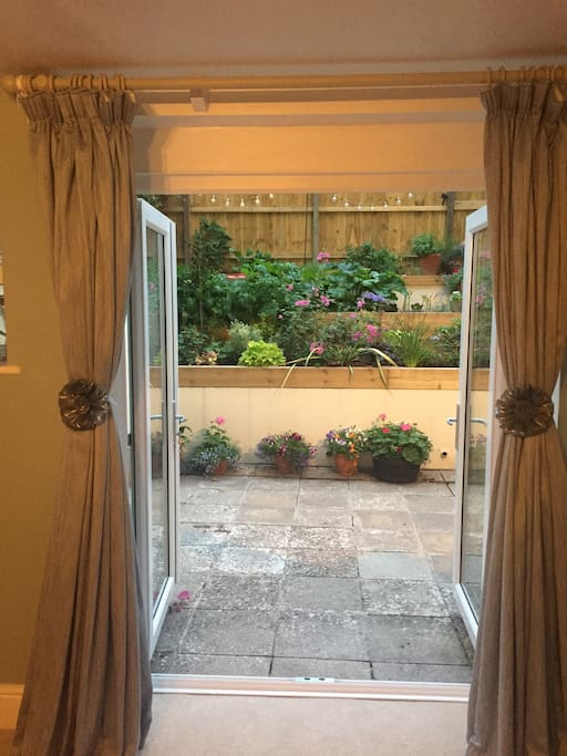 Double doors from living room onto patio