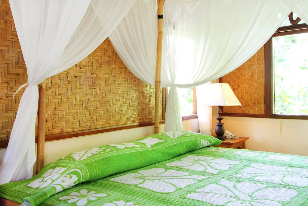 The walls are made of natural double paneled, woven bamboo.