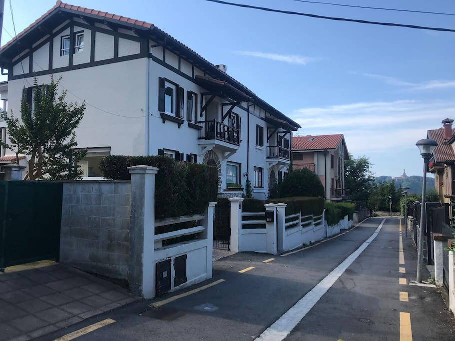 View of the quiet street and entrance to the house