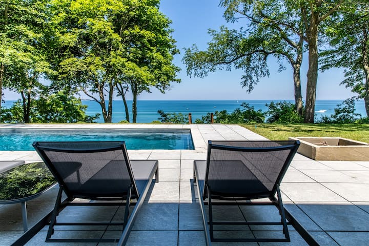 White Pearl Beach House - Lakefront luxury house with private beach, pool, hot tub, tennis court, and guest house - sleeps 22