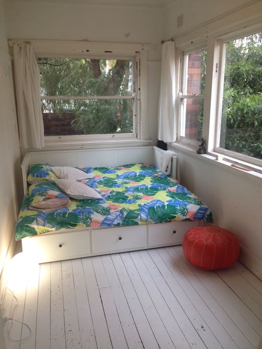 Bedroom when daybed opened as a King bed (real mattress brand new, very comfy)