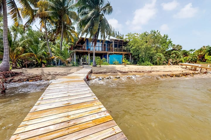 Oceanfront family home w/ mountain & ocean views, shared dock, WiFi, partial AC!