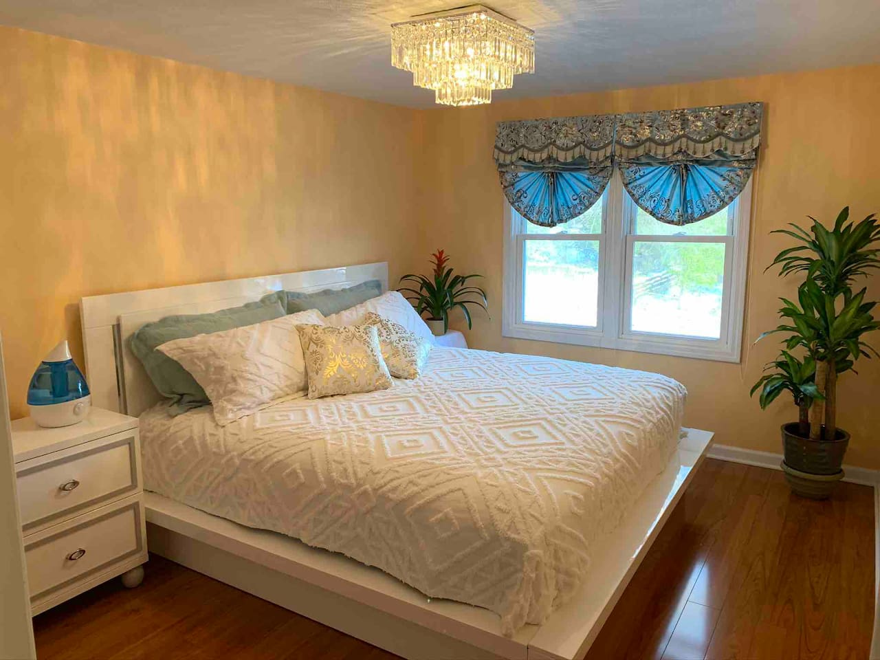 The master bedroom is bright and spacious upstairs
