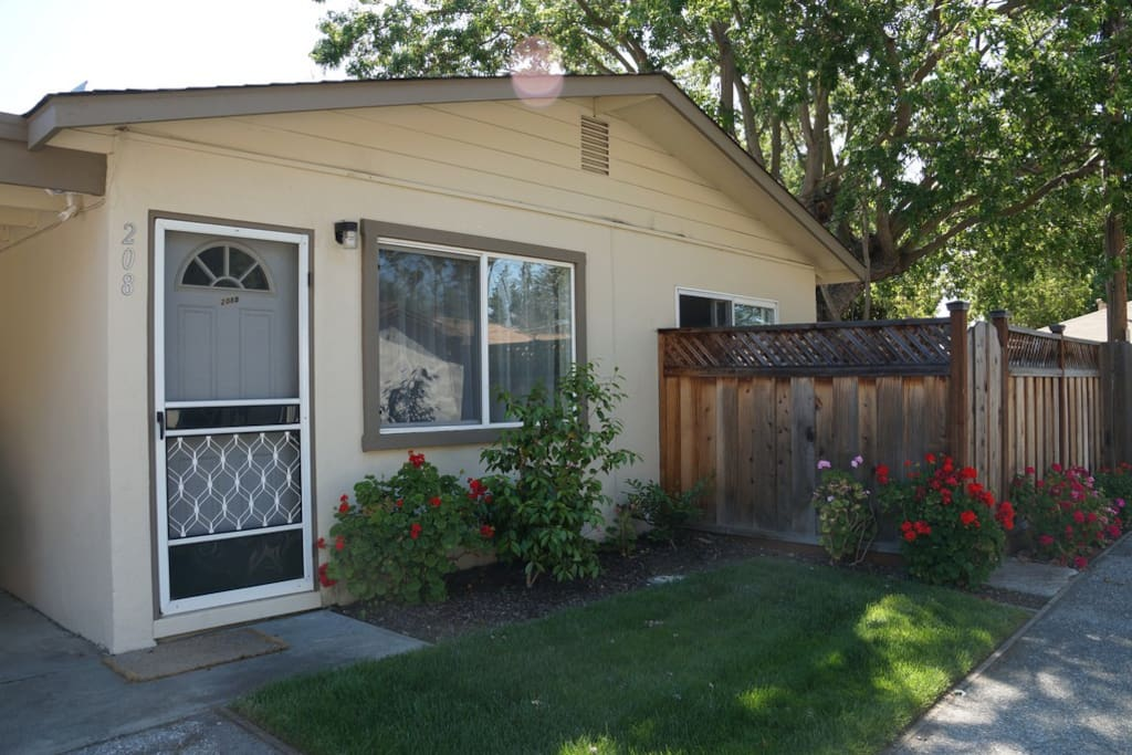 Front door and patio fence