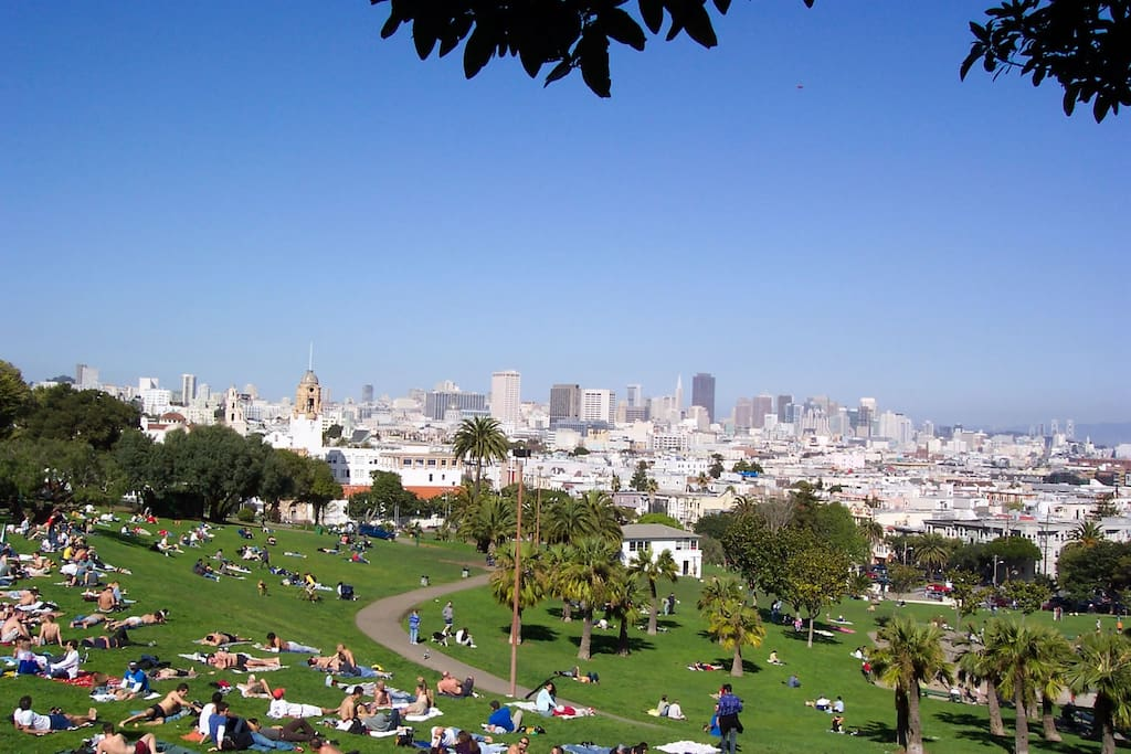 Dolores Park is right outside the front door.