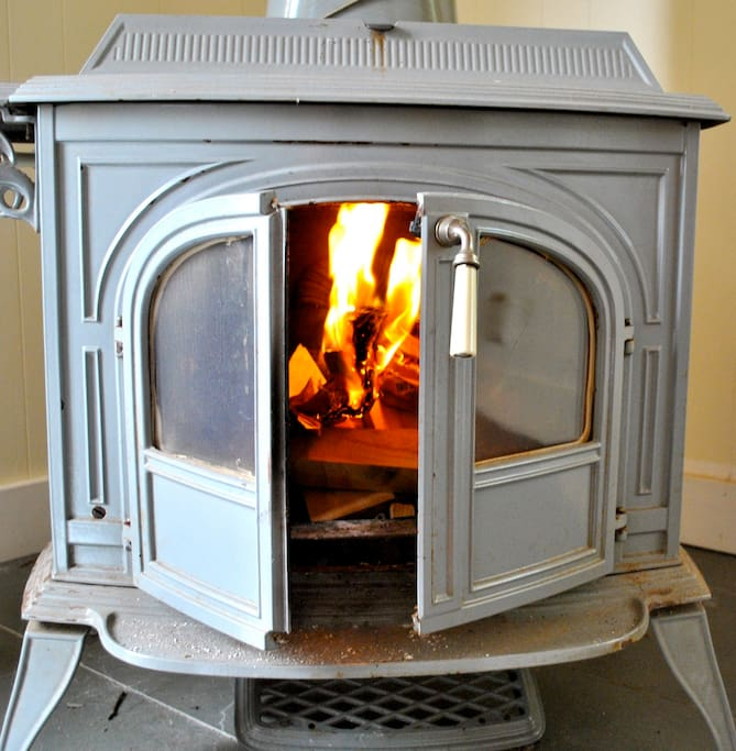 Enjoy a cozy fire in the wood stove.
