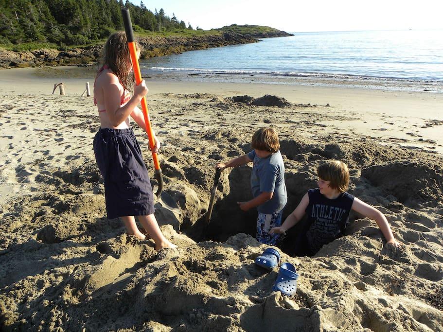 Rental includes use of this private beach, (my son and his cousins.. ya know, digging to China).