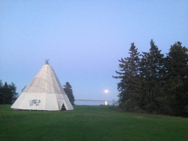 The teepee in Kouchibouguac where you can learn from local indigenous people about their life and culture