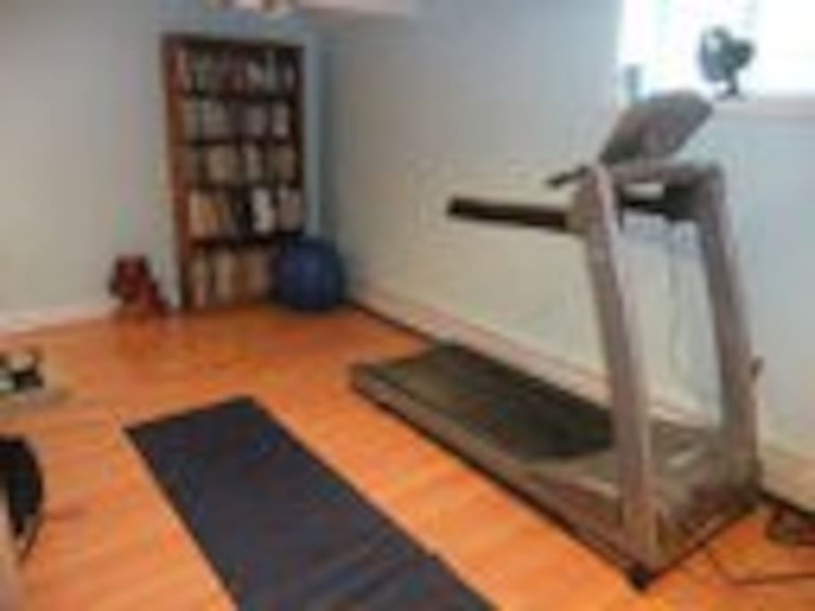 Fitness Room with tread mill and weights