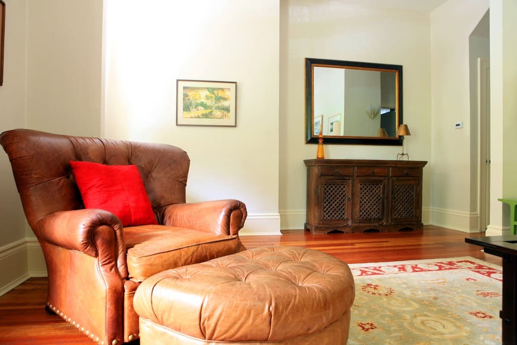 Cosy leather armchair in the living room
