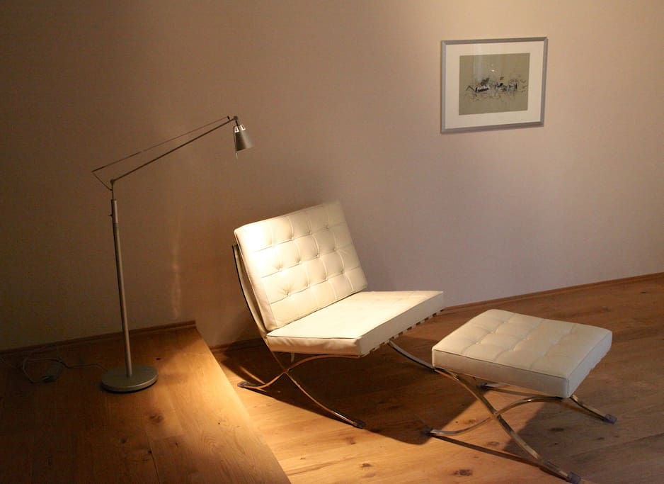 Rest and enjoy your book or drink on a timeless Barcelona chair...