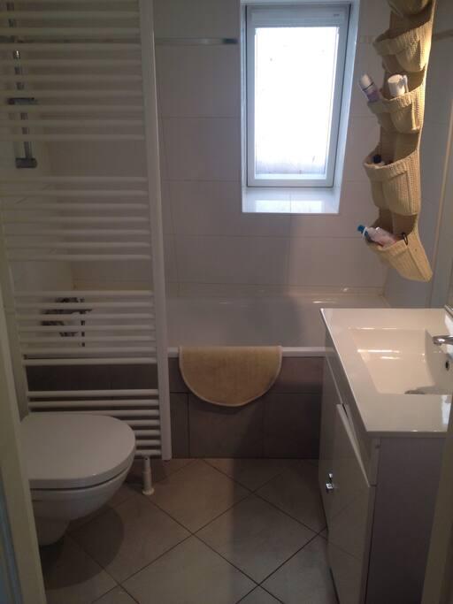 Face au lavabo se trouve un grand miroir.