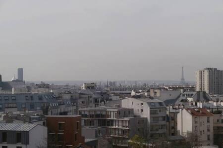 Petit studio plein sud, vue sur tout Paris - Paryż