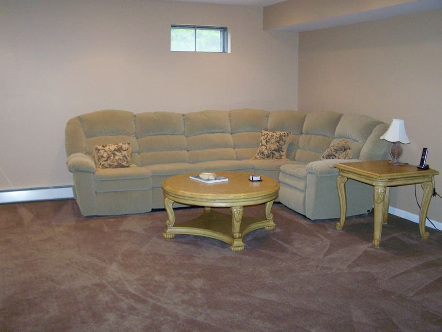 lower level, family room with large screen t.v.