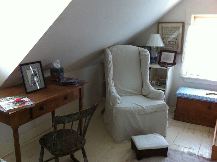 Cozy Attic Room with distant view of Acadia Mountains. Here desk and wing chair.